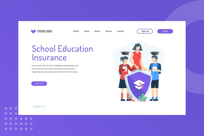 Thumbnail for School Education Insurance Landing Page Template
