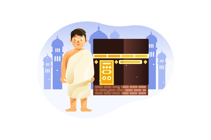 Thumbnail for Kid in front of Kaaba Mecca wearing ihram