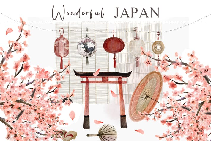 Watercolor Japan - hand drawn illustrations set