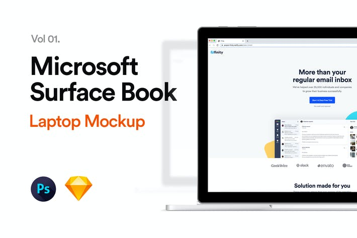 Thumbnail for Microsoft Surface Book Mockup