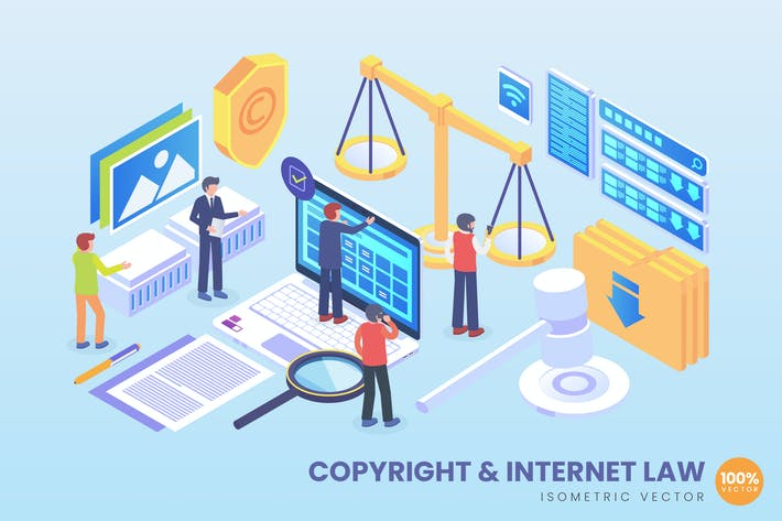Thumbnail for Isometric Copyright And Internet Law Vector