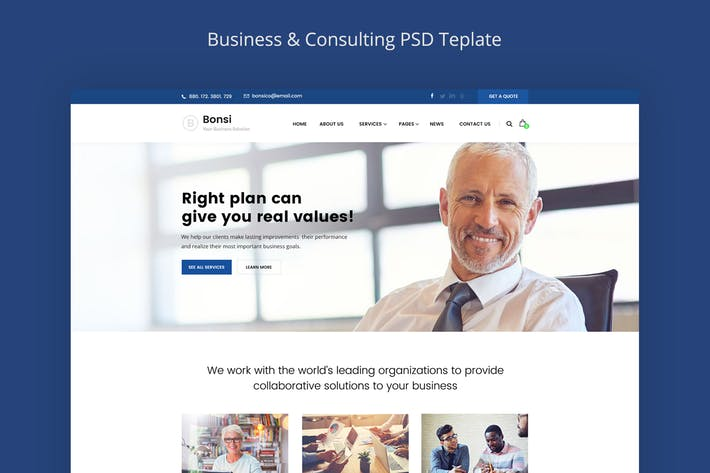 Thumbnail for Bonsi - Business & Consulting PSD Template