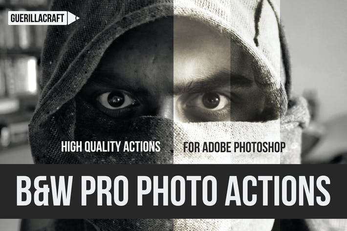 Thumbnail for Black and white professional actions for Photoshop