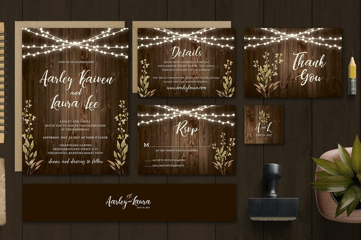 Cover Image For Rustic Wedding Invitation Set