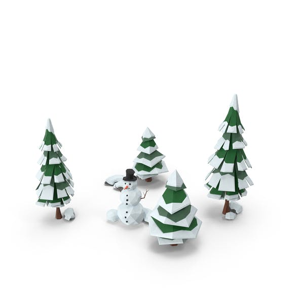 Low Poly Snow Scene Snowman