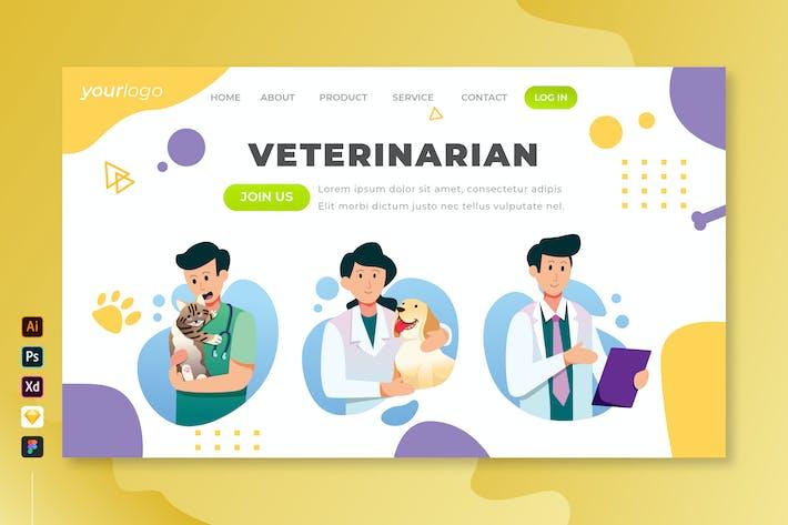 Veterinarian - Vector Landing Page