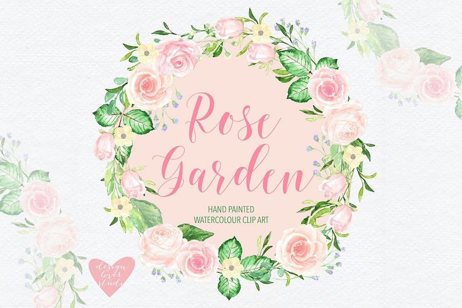Watercolor roses wreath design