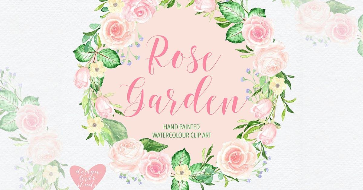 Watercolor roses wreath design by designloverstudio