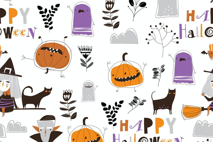 Thumbnail for Vector seamless pattern with Halloween characters