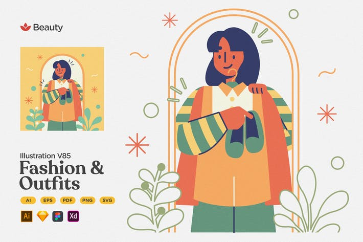 Thumbnail for Beauty - Fashion & Outfits Flat Illustration