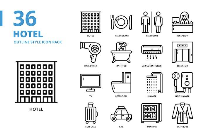 Jeu d'icônes de style contour d'hôtel