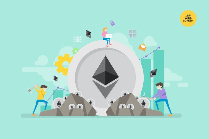 Cover Image For Ethereum Mining Vector Concept Illustration