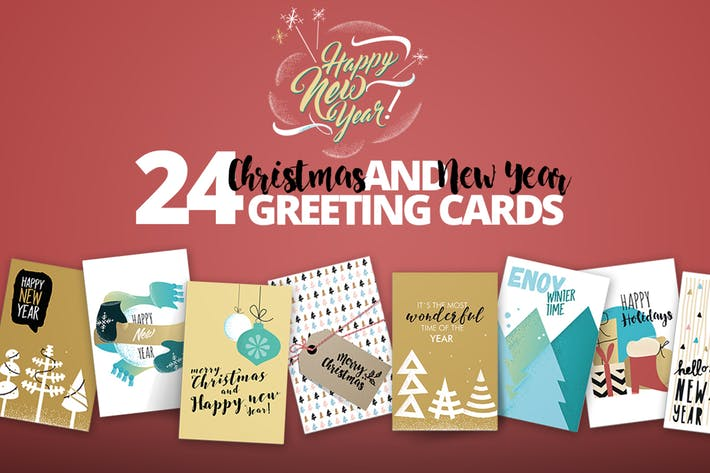 Thumbnail for Vintage Christmas and New Year's Greeting Cards