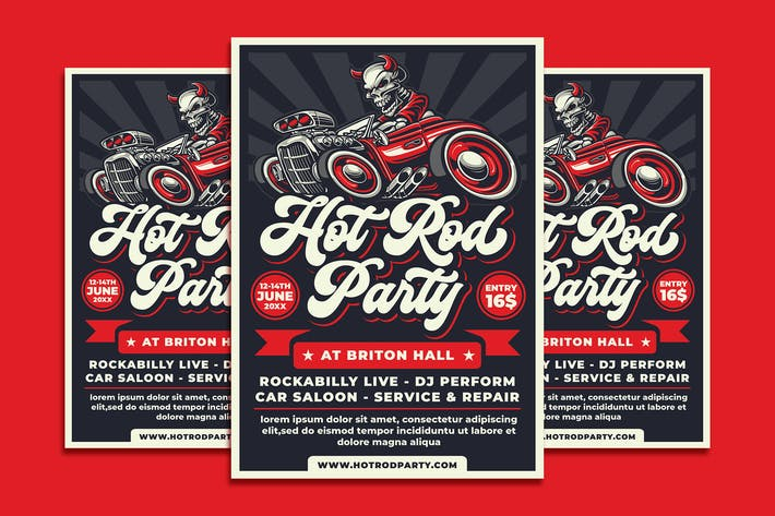 Thumbnail for Hotrod Party Flyer Template