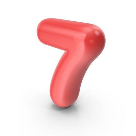 Roter Toon-Ballon Nummer 7