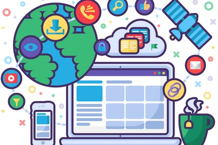 Internet Technologies And Online Life Illustration