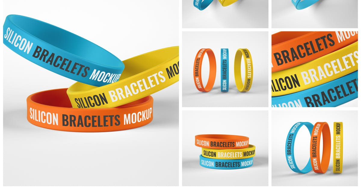 Download Silicone Bracelet Mockup Set   Wristband by deeplabstudio