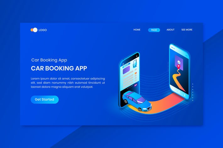 Thumbnail for App for Booking Taxi Concept Landing Page