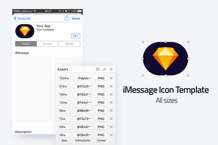 iMessage Icon Template - All sizes