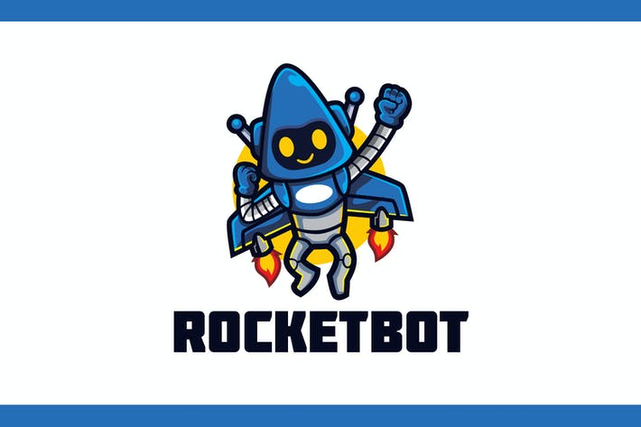 Thumbnail for Cartoon Space Rocket Robot Mascot Logo