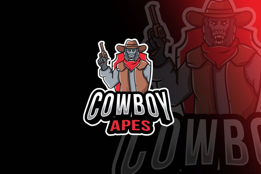 Cowboy Apes Esport Logo Template