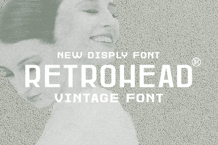 Thumbnail for Retrohead Typeface|Vintage Font