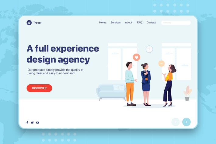 Thumbnail for Business People Talking Web Banner Landing Page