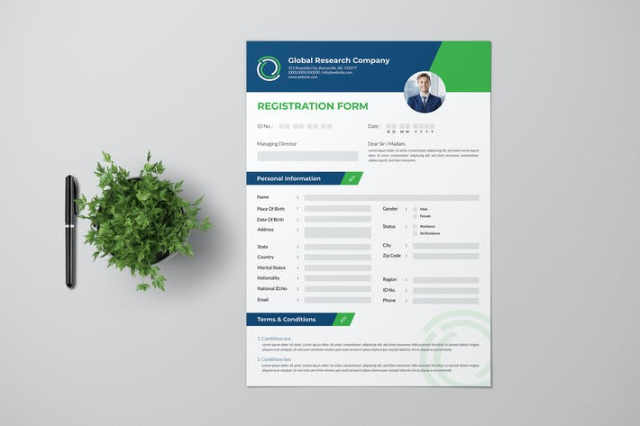 Thumbnail for Registration Form With Blue Green Accent