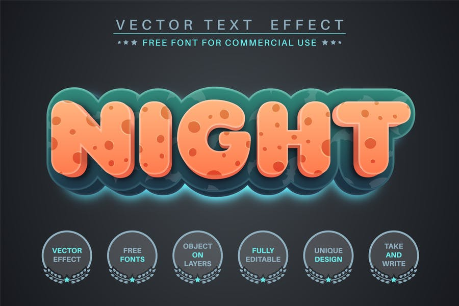 Dark Night - editable text effect, font style