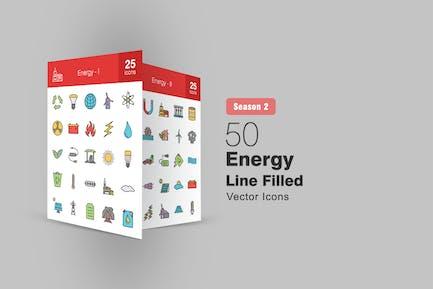 50 Energy Filled Line Icons Season II