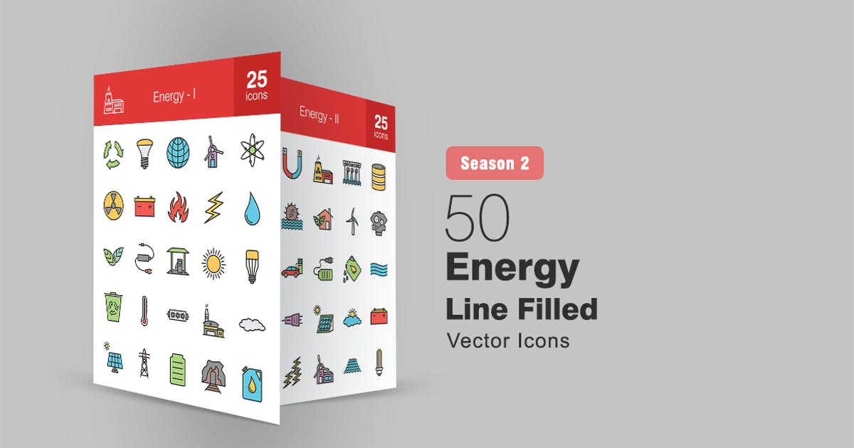 Download 50 Energy Filled Line Icons Season II by IconBunny