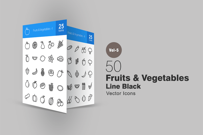 Thumbnail for 50 Fruits & Vegetables Line Icons
