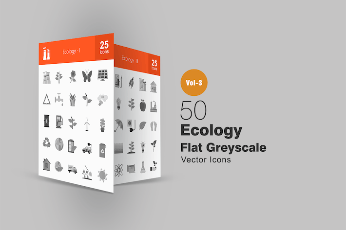 Thumbnail for 50 Ecology Greyscale Icons