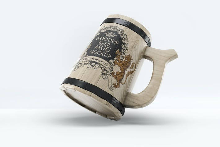 Thumbnail for Taza De madera con diseño de cerveza