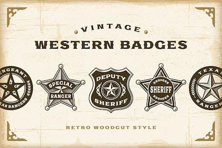 Vintage Western Badges Set