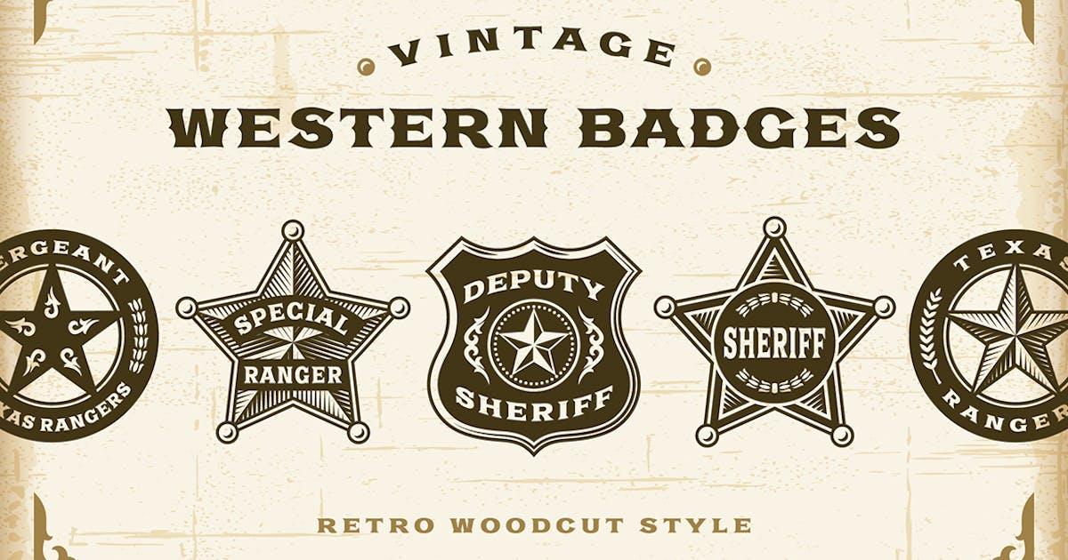 Download Vintage Western Badges Set by iatsun
