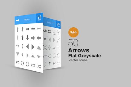 50 Arrows Greyscale Icons