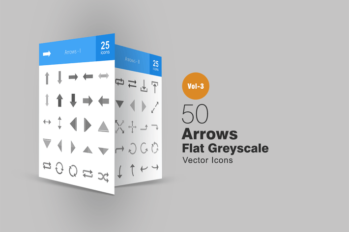 50 Arrows Greyscale Icons