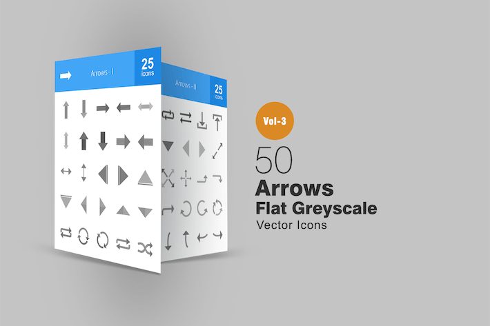 Thumbnail for 50 Arrows Greyscale Icons