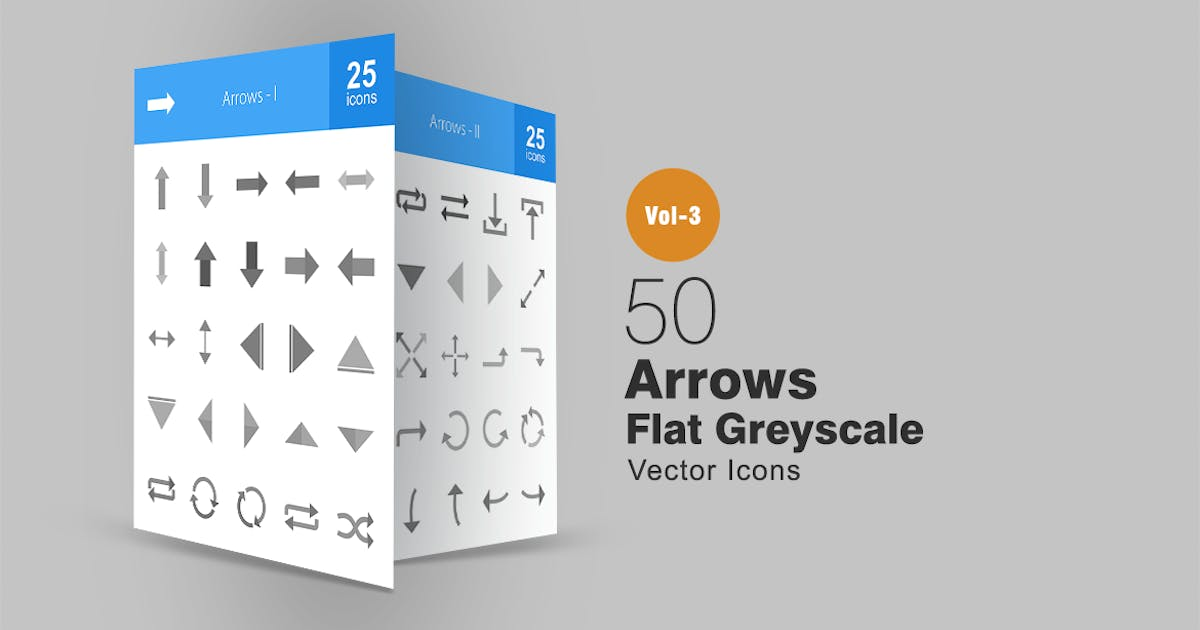 Download 50 Arrows Greyscale Icons by IconBunny
