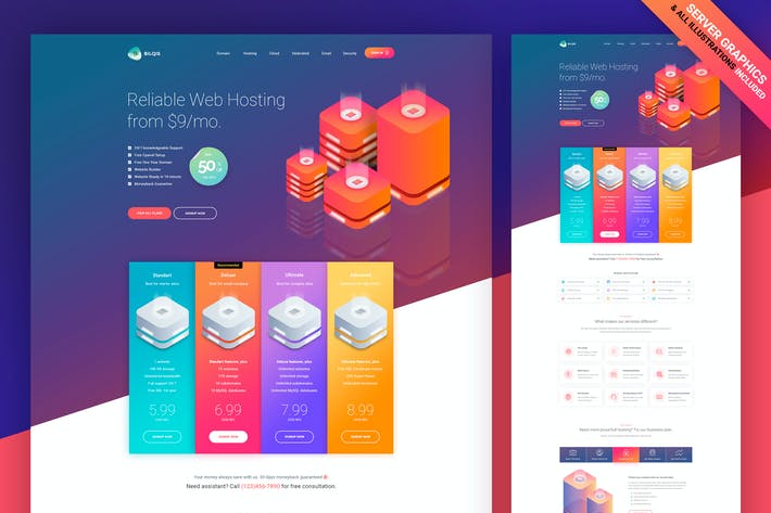 Thumbnail for Isometric Web Hosting Template [Graphics Included]