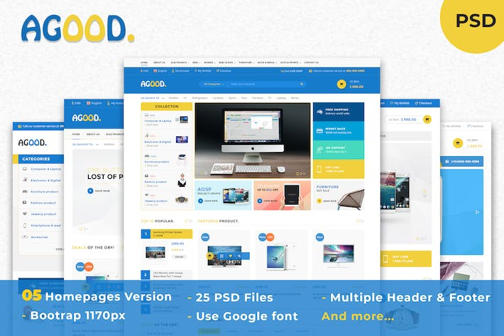 Thumbnail for Agood - Multi-Purpose eCommerce PSD Template