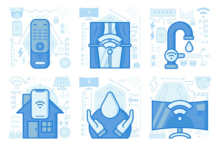 Thumbnail for Wireless Smartphone Control UI UX Illustrations