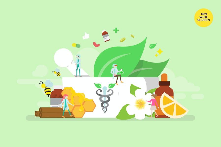 Alternative Medikation Vektor Illustration Konzept
