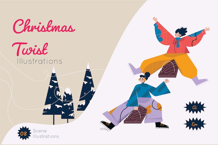 Thumbnail for Christmas Twist Graphics Illustration
