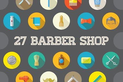 27 Vektor Barber Shop Flache Icons