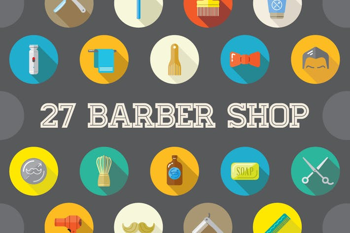 Thumbnail for 27 Vector Barber Shop Flat Icons