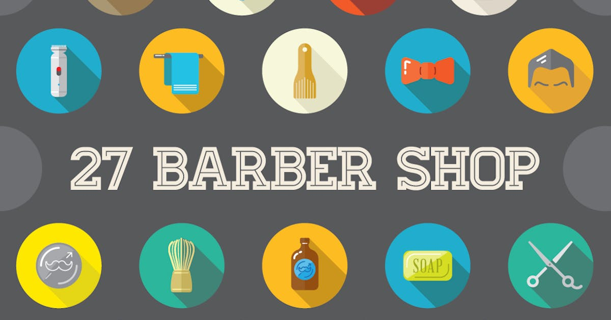 Download 27 Vector Barber Shop Flat Icons by Unknow