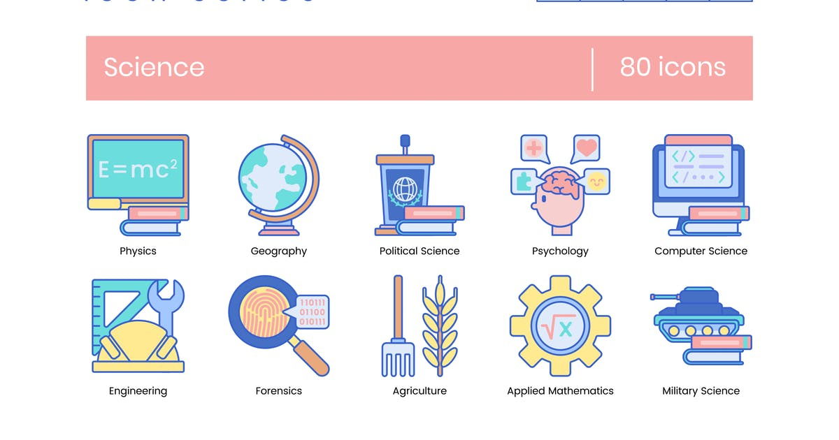 80 Science Icons   Indigo Series by Krafted