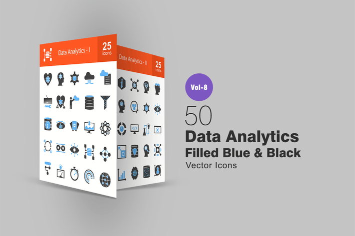 Thumbnail for Data Analytics Blue & Black Icons